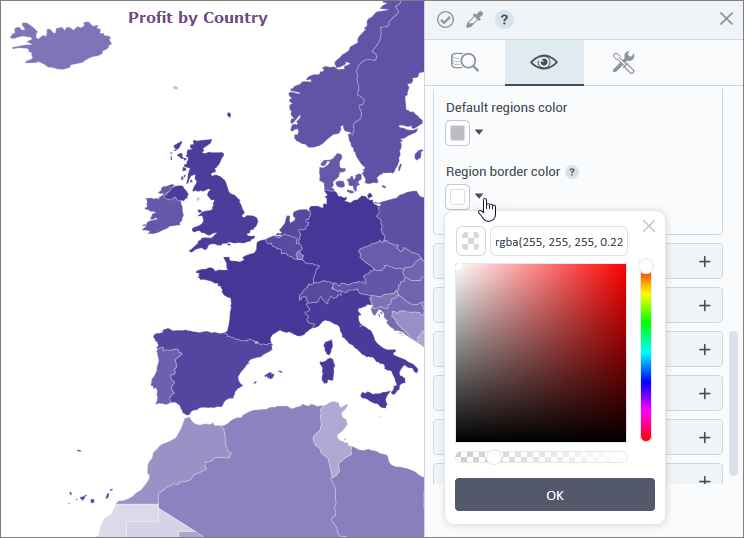 Border color for regions on map visualizations