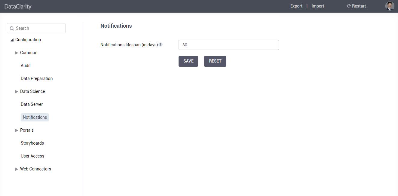 Configure notifications lifespan