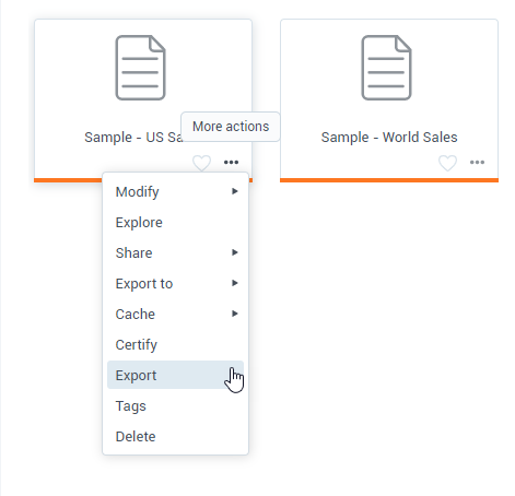 Datasets export and import