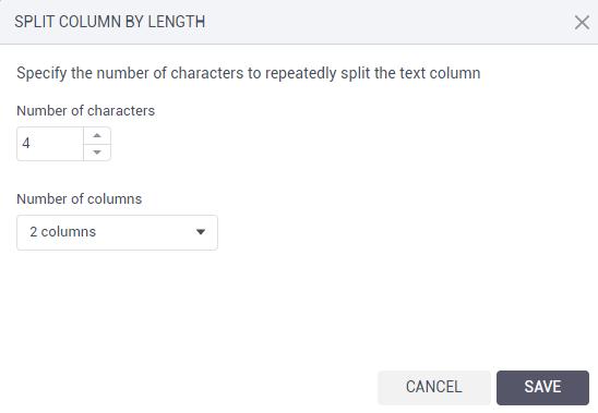Split columns by length