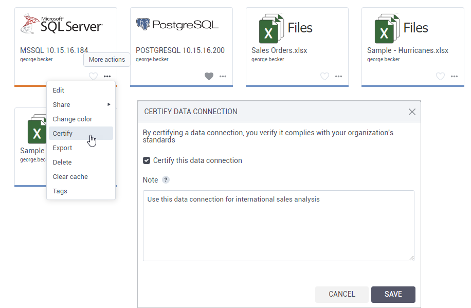 Certify data connections